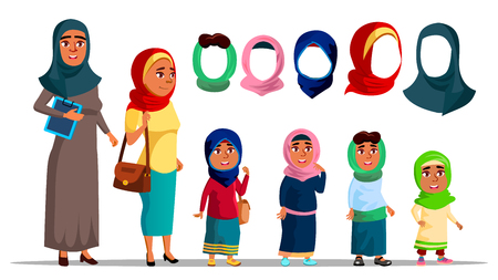 Arabian Characters Women Wearing Hijab Vector. Religion Muslim Adult Female And Little Girl Children With Fashion Eastern Multicolored Hijab Headscarf. Colorful Flat Cartoon Illustration Illustration