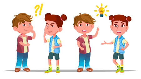 Personnages Enfants Penser Et Comprendre Le Vecteur. Les élèves intelligents, garçons et filles, ont des questions ou des problèmes, comprennent le problème et trouvent une solution réussie. Illustration de dessin animé plat