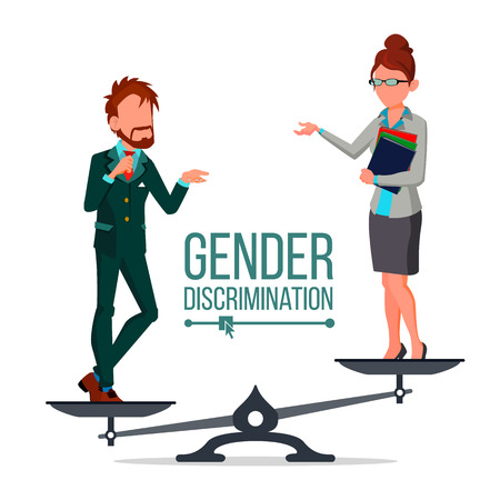 Gender Discrimination And Human Comparison Vector. Male And Female Standing On Judicial Scales Symbol Of Discrimination. Differences Between Man And Woman Flat Cartoon Illustration