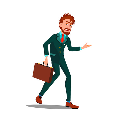 Exhausted Character Businessman After Work Vector. Exhausted Tired Exhaustion Energy Employee Man After Heavy Job Going Home. Professional Burnout And Stress Flat Cartoon Illustration
