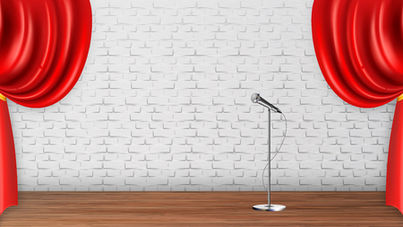 Design Platform Scene For Recital Spectacle Vector. Silver Metal Leg Microphone, Wooden Floor And Red Curtains Isolated On White Brick Wall Interior Of Theater Scene. Realistic 3d Illustration