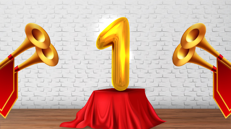 Winner Congratulations In Studio On Scene Vector. Golden Trumpets With Red Flags, Number One 1 On Table Covered Spread Wooden Floor Of Scene And Brick Wall On Background. Realistic 3d Illustration