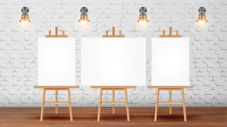 Aula per il corso di pittore con attrezzature vettore. Aula per lezioni di creatività Scrivanie di tela bianca decorate per immagini su treppiede, applique illuminanti su muro di mattoni. Illustrazione 3d realistica Vettoriali