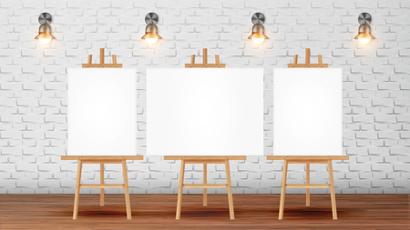 Classroom For Painter Course With Equipment Vector. Classroom For Creativity Lessons Decorated Blank Canvas Desks For Pictures On Tripod, Lighting Sconces On Brick Wall. Realistic 3d Illustration