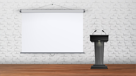 Interior University Or School Lecture Room Vector. Black Tribune With Microphones For Teacher Or Business Trainer On Wooden Floor And Projection Board On Brick Wall In Room. Realistic 3d Illustration Illustration