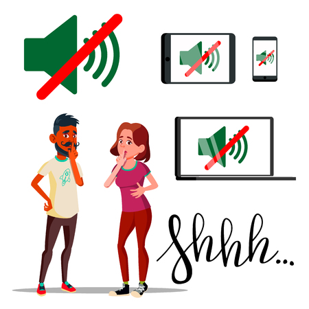 Characters Man And Woman Asking Silent Vector. Handwriting Word Shhh And Sound Off Silent Mode Icon On Laptop, Smartphone And Tablet. No Speaking And Talking Flat Cartoon Illustration 向量圖像