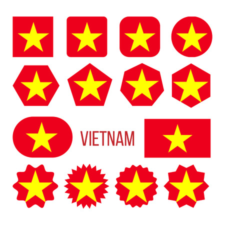 Vietnam Flag Collection Figure Icons Set Vector. Large Yellow Star Centered On Red Field Symbol Of Vietnam. Color Symbolizes Goals Of Social Revolution National Uprising Flat Cartoon Illustration 矢量图像