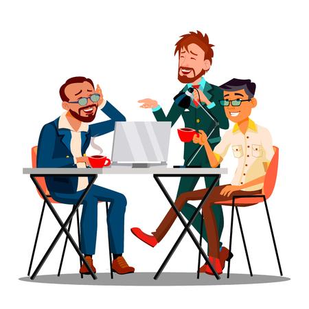 Vector de empleados de personajes de tiempo informal en el trabajo. Empresarios bebiendo café o té, sonriendo y discutiendo en un ambiente informal. Colegas sentados juntos ilustración de dibujos animados plana