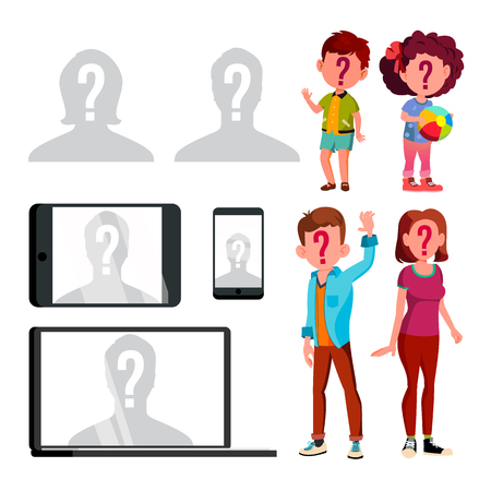 Anonymous Silhouette And Unknown Person Set Vector. Characters Children, Man And Woman With Question Mark On Face And Silhouette Of Human Head On Profile Avatar. Flat Cartoon Illustration Ilustração