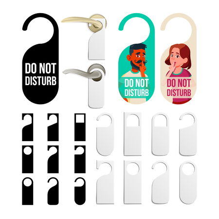 Do Not Disturb Door Knob Hanging Signs Set Vector. Black And White Blank Collection Flyer And Character Man And Woman Depicted On Colorful Label With No Disturb Request. Flat Cartoon Illustration