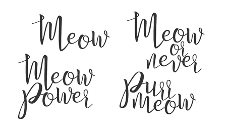 Modern Calligraphy Of Ink Meow Letters Vector. Stylish Typography Inscription Poster With Different Handwritten Meow Power, Never And Purr Elegance Text. Graphic Design Flat Illustration