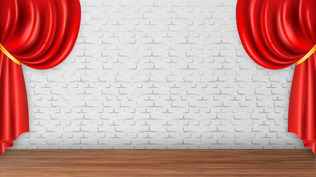 Red Curtains On White Brick Wall Background Vector. Wooden Floor And Baroque Style Curtains With Creases And Golden Ribbon Element Of Theater Opera Scene. Realistic 3d Illustration