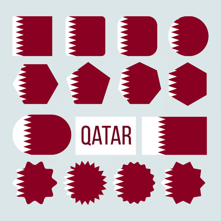 Qatar Flag Collection Figure Icons Set Vector. White Band Separated From Maroon Area On Fly Side By Nine Triangles Which Act As Serrated Line On Symbol Of Qatar. Flat Cartoon Illustration Çizim