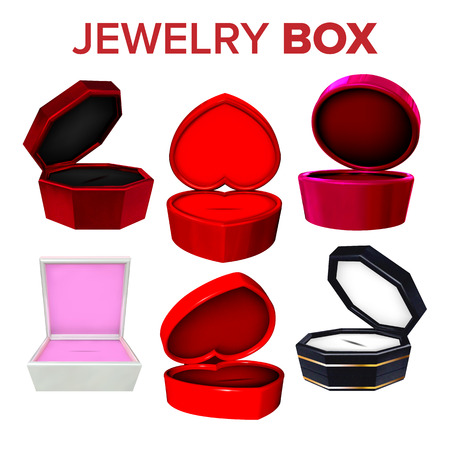 Elegance Collection Of Jewelry Box Set Vector. Different Bright Multicolored Compact Box For Ring, Earrings Or Necklace. Container For Expensive Accessory Gift Realistic 3d Illustration Archivio Fotografico - 126553680