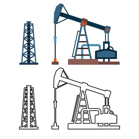 Drawn Industrial Equipment Oil Pump Rig Set Vector. Colorful And Monochrome Design Drilling Rig Derrick Gaz Petrolium Production. Pumpjack Energy Business Construction Flat Cartoon Illustration