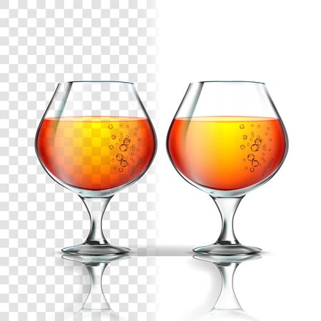 Full Glass Of Alcoholic Beverage Cognac Vector. Cup With Cognac, Whisky, Bourbon, Rum Or Scotch Drink With Bubbles On Transparent Background. Snifter With Liquid Realistic 3d Illustration