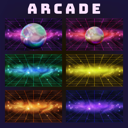Galaxy Collection On Arcade Background Set Vector. Multicolored Assemblage Mockup Space With Sphere Isolated On Style Computer Arcade Game Neon Laser Grid Decoration Realistic 3d Illustration Illustration