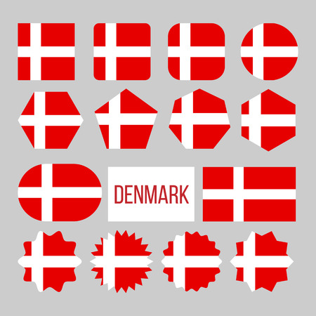 Denmark Flag Collection Figure Icons Set Vector. On Red Field Charged Background White Nordic Cross That Extends To Edges On National Symbol Of Denmark. Design Flat Cartoon Illustration Illusztráció