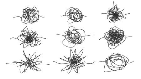 Ensemble de croquis de gribouillis dessinés à main levée monochromes. Collection de gribouillis abstraits de conception en noir et blanc, griffonnages du chaos. Formes enchevêtrées fouillis Crayonnage plat Symbole Illustration