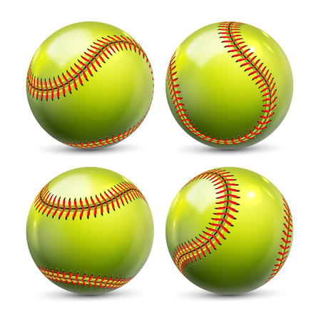 Yellow Softball Equipment Of Baseball Set Vector. Glossy Element Of Team Playing Game Softball. Different View Of Ball With Red Seams For Activity Professional Sport Realistic 3d Illustration Ilustracje wektorowe