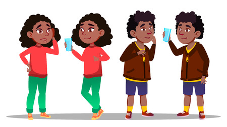 Thirst Character Teenager Boy And Girl Vector. Standing African Young Boy And Girl Thirst And Sad Before Drink And After Happy And Smiling. Glass Of Water And Children Flat Cartoon Illustration Illustration