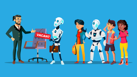Unemployed Characters Waiting Interview. Unemployed Robot, Young Man And Woman Doing Line For Vacant Workplace. Competition For Job And Technological Revolution Flat Cartoon Illustration Illustration
