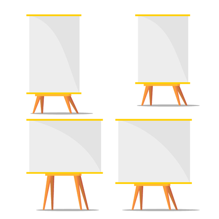 Business Blank Training Paperboard Set Vector. Collection Of Different Size Paperboard For Presentation Design Financial Graphic. Object For Education Or Report Flat Cartoon Illustration