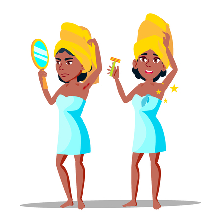 Character Young Woman With Hairy Armpit Vector. Standing African Girl With Mirror Sad Before Depilation Hairy Part Of Body And After Happy And Smiling. Hygiene Concept Flat Cartoon Illustration Stock Illustratie