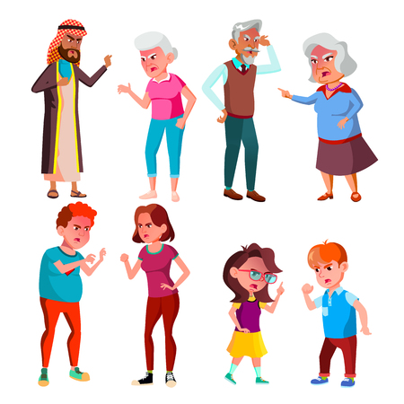 Annoyed Stressful Screaming Characters Set Vector. Angry Young Boy And Girl, Teenager And Children, Old Man Grandfather And Grandmother Annoyed Crying. Quarrel Concept Flat Cartoon Illustration 矢量图像
