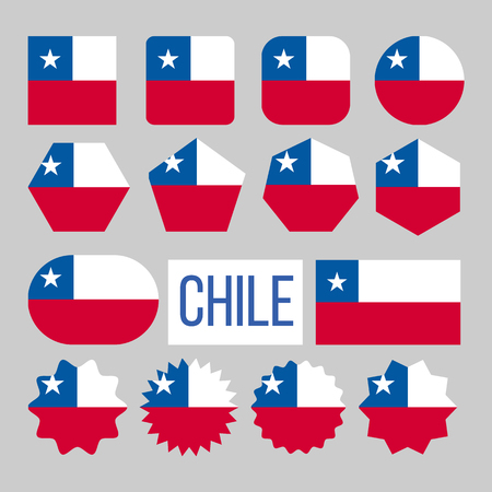 Chile Flag Collection Figure Icons Set Vector. Horizontal Bicolor Of White And Red With Blue Square With Five-pointed Star In Center On National Symbol Of Chile. Design Flat Cartoon Illustration