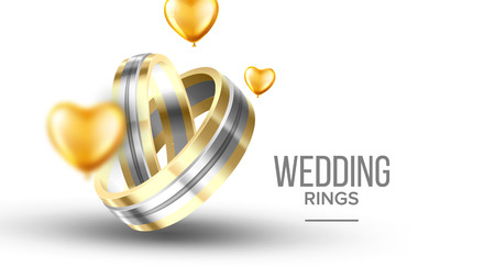 Wedding Golden With Platinum Rings Banner Vector. Special Symbolic Of Relationship Rings For Young Newly Couple Engaged Decorated Yellow Helium Balloons. Marriage Accessory Realistic 3d Illustration