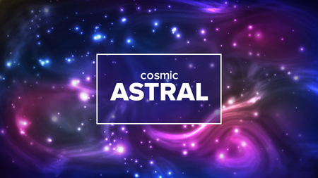 Cosmic Astral With Night Sky Stars Banner Vector. Bright Colorful Galaxy Astral Universe Astronomy And Astrology Science. Deep Interstellar Space And Constellation Realistic 3d Illustration