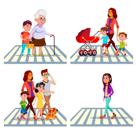 Vector de conjunto de camino de paso de peatones de carácter. Niño ayuda a la abuela a intersectar la calle, la familia, la niña y la madre con los niños, paso de peatones. Ilustración de dibujos animados plana