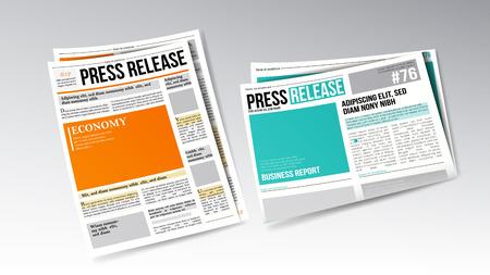 Zeitungs-Pressemitteilung mit Headline-Set. Bunte helle Designvorlage für die Veröffentlichung von täglichen Informationen und Artikeln. Gedruckte Breaking News Veröffentlichung Realistische 3D-Illustration