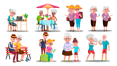Happy Older Character Grandparents Set Vector. Collection Of Older Person. Man And Woman Play Volleyball And Travel, Sitting On Bench And Cafe, Working On Laptop And Walk. Flat Cartoon Illustration Vettoriali