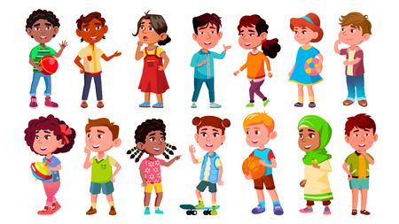 Multicultural Characters Children Kids Set Vector. Design Collection Of International Asian, African, European Smiling Children Little Boy And Girl. Childhood Flat Cartoon Illustration Vettoriali