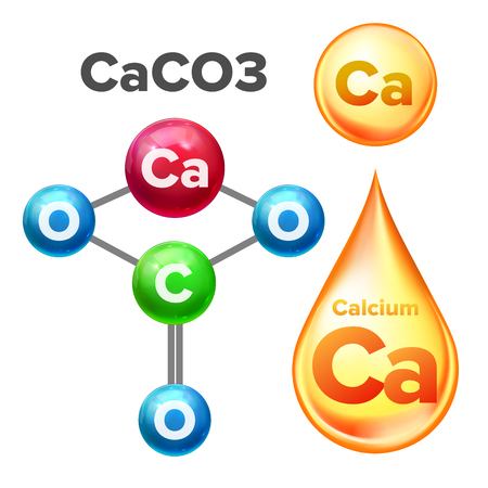Molecular Structure Calcium Carbonate Caco3 Vector. Calcium Mineral Yellow Golden Drop Vitamin Liquid Substance For Helathy Cosmetic And Beauty. Chemical Element Realistic 3d Illustration