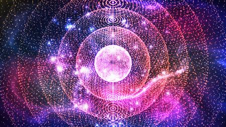 Campo de nebulosa de espacio profundo abstracto con estrellas Vector. Nebulosa planetaria de gran galaxia de diseño colorido ubicada en la constelación de Acuario. Ilustración 3d realista del universo misterioso cosmos