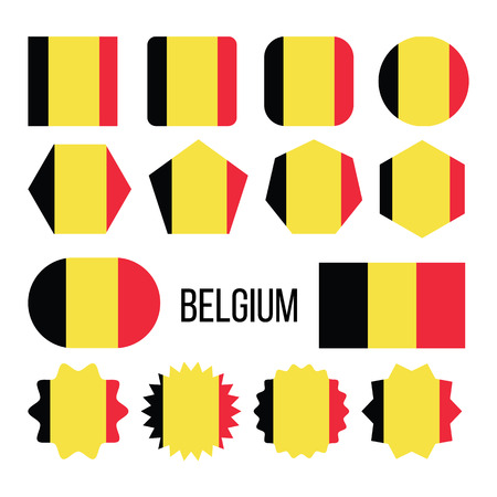 Belgium Flag Collection Figure Icons Set Vector. Tricolour Of Three Bands Of Black, Yellow And Red On National Symbol Of Kingdom Of Belgium. Europe Design Flat Cartoon Illustration