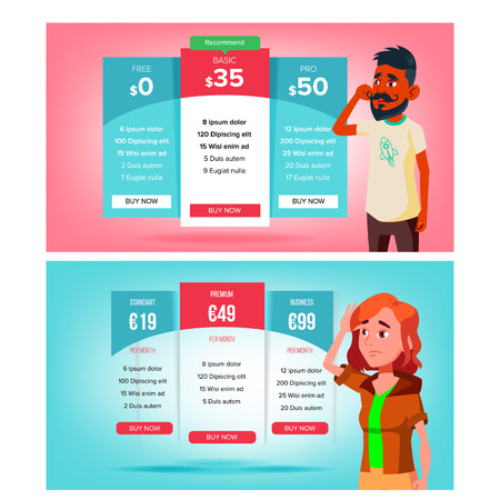 Bewildered Character Choose Subscription Vector. Sad Young Man And Woman Standing Near Bright Pricing Panels And Select Subscription. Different Types Of Payment Flat Cartoon Illustration