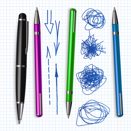 Ballpoint Pen And Hand Drawn Doodle Set Vector. Collection Of Different Color Bright Ballpoint And Sketch Scribble With Arrow Line. Ink Grunge And Writing Equipment Realistic 3d Illustration