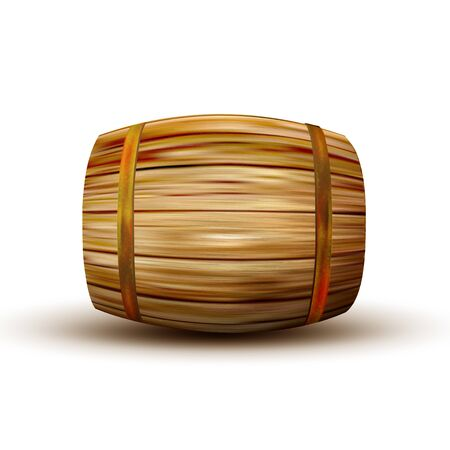 Brown Lying Vintage Wooden Barrel Side View. Standard Barrel For Making, Storage And Shipping Alcoholic Beverage Rum Production. Closeup Object Equipment Realistic 3d Illustration