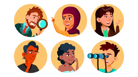 Curious Happy Multicultural Character Set Vector. Collection Of Smiling International Young Curious Man And Woman Portait Avatar With Binoculars And Magnifier. Flat Cartoon Illustration Ilustração Vetorial