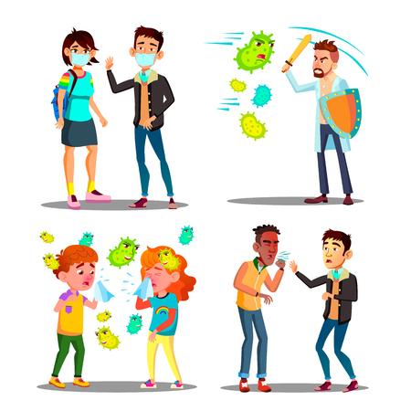 Saison-Allergie-Mikroben-Angriff-Zeichensatz-Vektor. Teenager mit Schutzmaske, Kinder und Mann mit Schild und Schwert kämpfen mit Allergiekeimen und krankem Jungen niest. Flache Cartoon-Illustration
