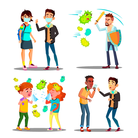 Season Allergy Microbe Attack Character Set Vector. Teenager With Protection Mask, Children And Man With Shield And Sword Fighting With Allergy Germ And Ill Boy Sneezes. Flat Cartoon Illustration