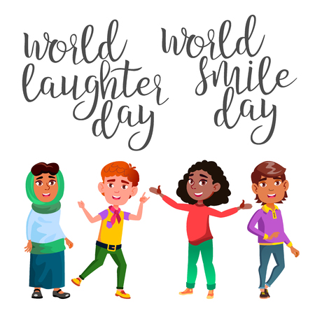 Funny Modern Calligraphy And Laughter Child Vector. Stylish Typography Inscription With Different Handwritten Drawn Latin Letters World Smile Day And Laughter Children. Text Flat Cartoon Illustration