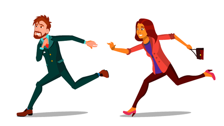 Rush Running Characters Young Man And Woman Vector. Happy Smiling Businessman Male And Female Person Hurry Running. People Hustling Late For Work Or Meeting Flat Cartoon Illustration Illustration