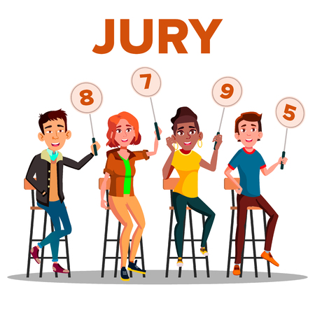 Characters Jury With Sign Boards Show Score Vector. Competition Jury Young Man And Woman Contest Judges Sitting On Chair With Scorecards. Judging People Committee Flat Cartoon Illustration