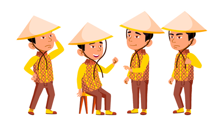 Group Of Character Vietnamese Children Vector. Little Boys In Traditional Clothing And Conical Hat Standing And Sitting, Sad And Smiling. Design Asian Kids Flat Cartoon Illustration 矢量图像