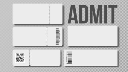 Design Blank Template Of Admit Ticket Set Vector. Cinema Movie Or Theater, Football Or Basketball, Volleyball Or Tennis Admit For Watch Championship Match. Monochrome Realistic 3d Illustration